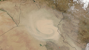 Cyclonic dust storm in the Middle East