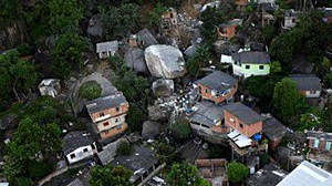 The collapse of rocks at the residential area in Brazil