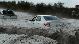 Snowdrifts from the hail in Argentina